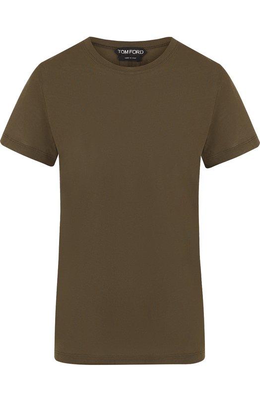 Купить Однотонная хлопковая футболка с круглым вырезом Tom Ford, TSJ259-FAX262, Италия, Хаки, Хлопок: 100%;