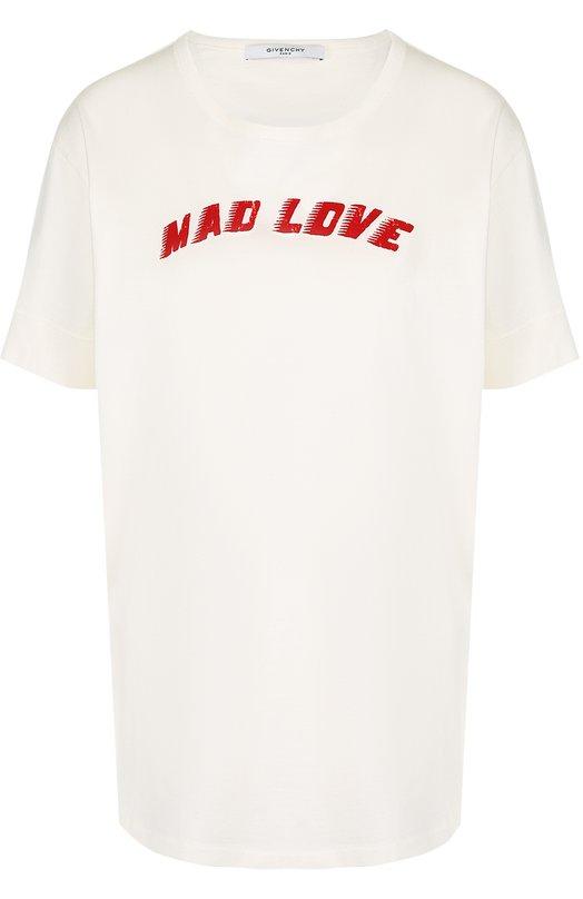 Купить Хлопковая футболка с круглым вырезом и надписями Givenchy, BW704V3Z0S, Португалия, Белый, Хлопок: 100%;