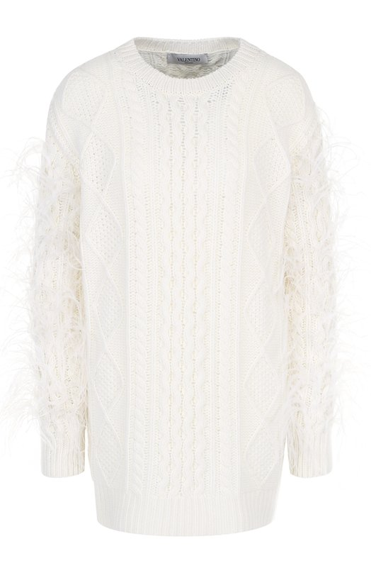 Купить Шерстяной пуловер фактурной вязки с перьевой отделкой Valentino, QB2KC30V43T, Италия, Кремовый, Шерсть: 100%; Отделка-перо страуса: 100%;