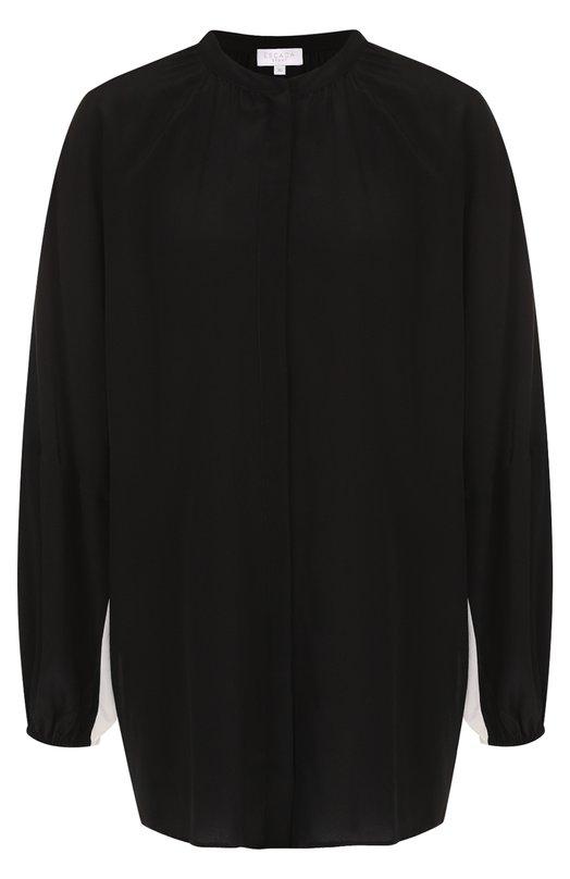 Купить Шелковая блуза с воротником-стойкой и контрастной отделкой Escada Sport, 5027052, Китай, Черный, Шелк: 100%;