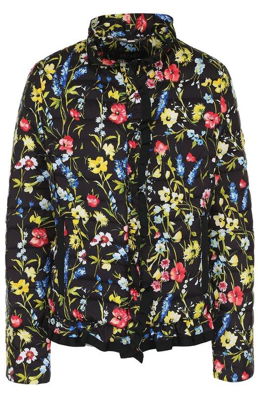 Купить Стеганая куртка с воротником-стойкой и принтом Escada, 5027227, Китай, Черный, Полиэстер: 100%;
