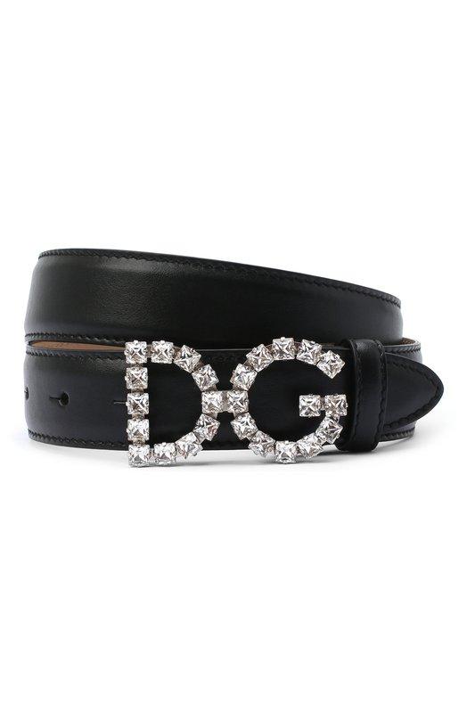 Купить Кожаный ремень с фигурной пряжкой и отделкой кристаллами Dolce & Gabbana, BE1311/AU325, Италия, Черный, Кожа натуральная: 100%; Кожа: 100%;