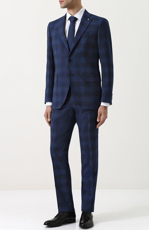 Купить Шерстяной костюм с пиджаком на двух пуговицах Sartoria Latorre, A057EF Q31151, Италия, Синий, Шерсть: 70%; Полиэстер: 28%; Эластан: 2%; Подкладка-купра: 100%;
