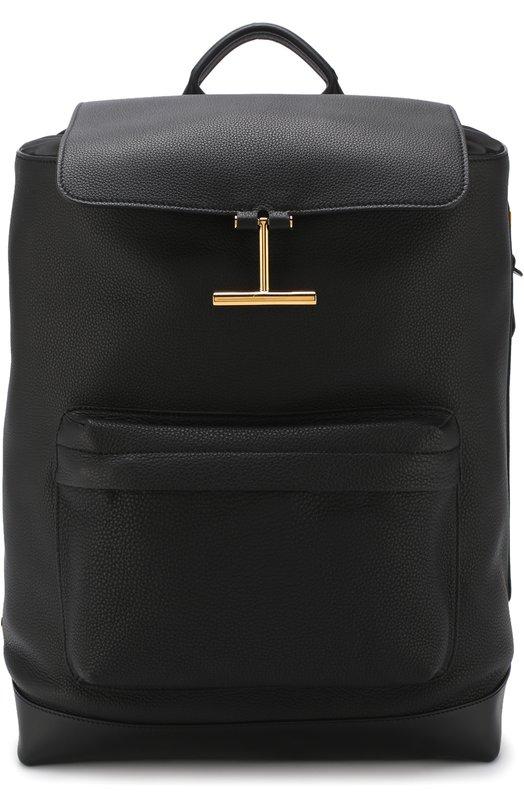 Купить Кожаный рюкзак с клапаном Tom Ford, H0356T-CL5, Италия, Черный, Кожа натуральная: 100%;