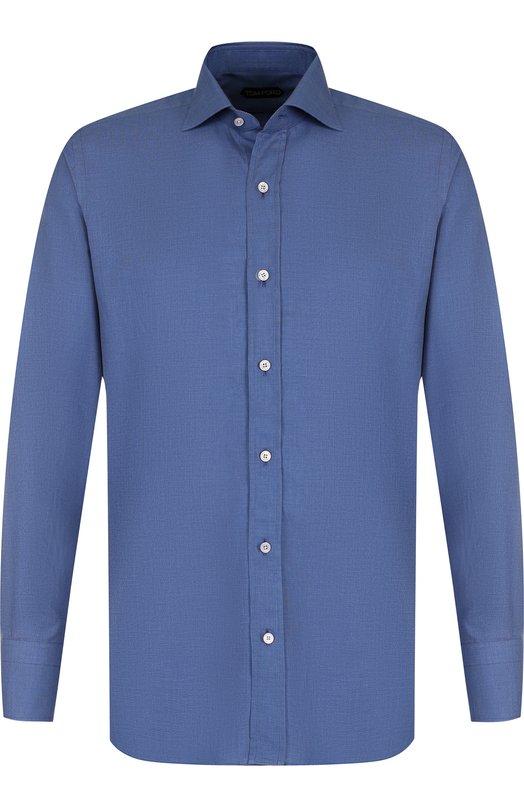Купить Хлопковая сорочка с воротинком акула Tom Ford, 3FT624/94S1AX, Италия, Синий, Хлопок: 100%;