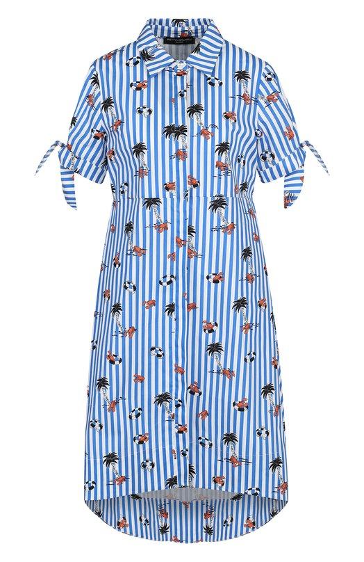 Хлопковое платье-рубашка с принтом Pietro Brunelli