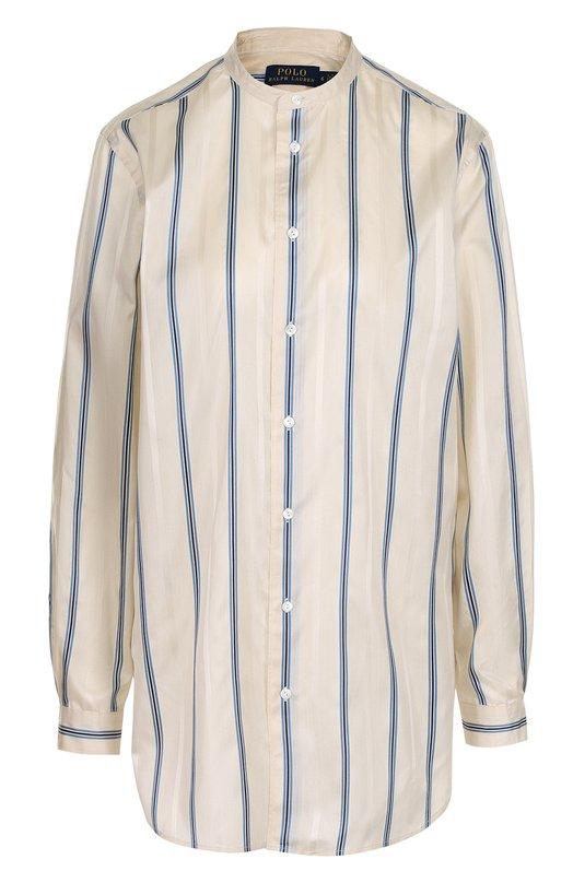 Купить Шелковая блуза с воротником-стойкой в полоску Polo Ralph Lauren, 211697539, Китай, Синий, Шелк: 100%;