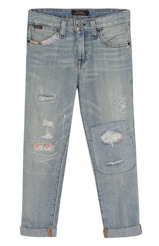 Купить 312689953, Джинсы с декоративными потертостями Polo Ralph Lauren, Мексика, Голубой, Хлопок: 100%;, Женский