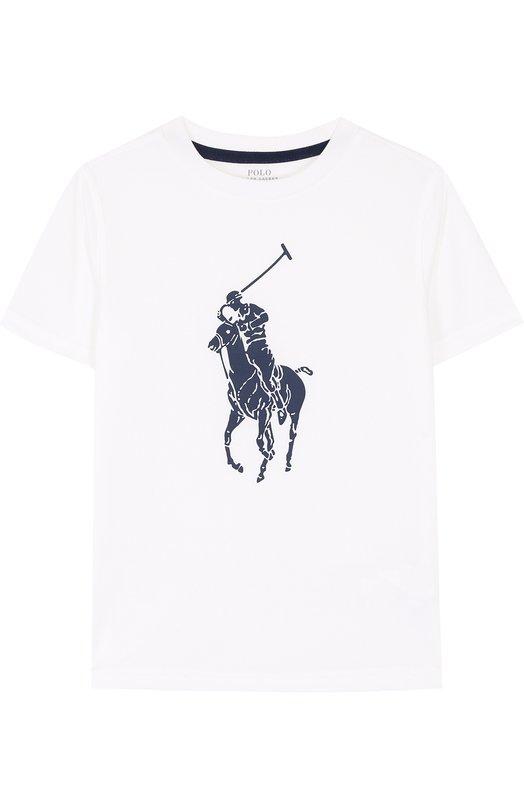 Футболка с логотипом бренда Polo Ralph Lauren, 321690131, Гватемала, Белый, Полиэстер: 100%;  - купить