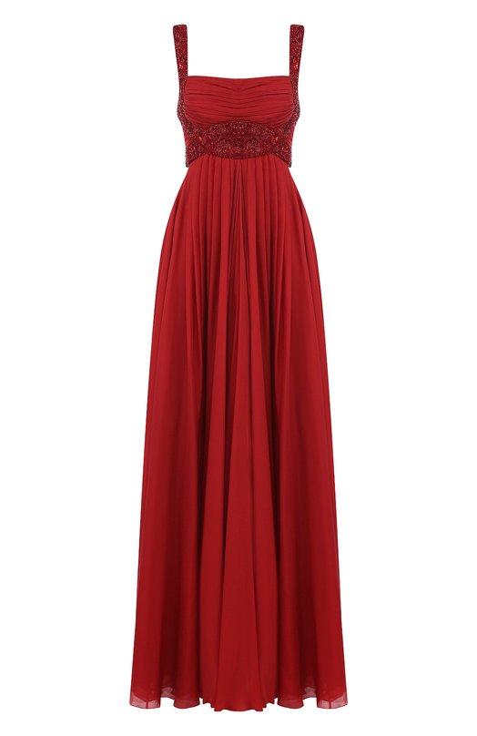 Купить Шелковое платье-макси с отделкой из бисера Zuhair Murad, DRS18025/CHSI001, Ливан, Красный, Шелк: 75%; Полиамид: 25%;
