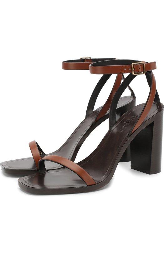 Купить Кожаные босоножки LouLou на устойчивом каблуке Saint Laurent, 504534/B2U00, Италия, Коричневый, Кожа натуральная: 100%; Стелька-кожа: 100%; Подошва-кожа: 100%;