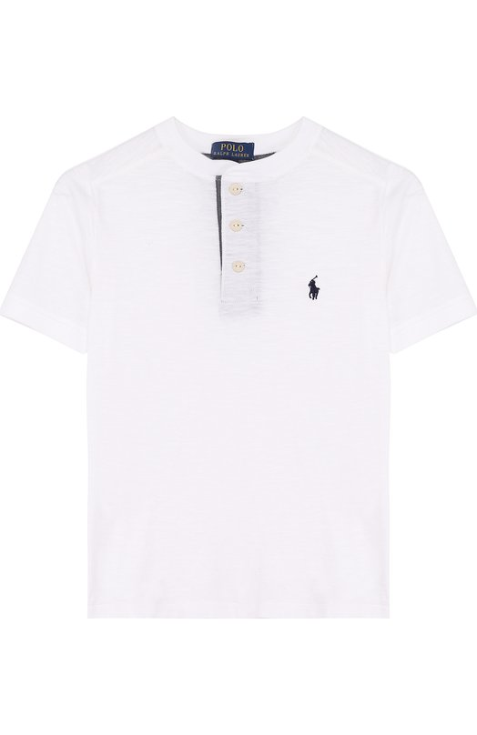 Купить Хлопковая футболка с логотипом бренда Polo Ralph Lauren, 321690106, Индия, Белый, Хлопок: 100%;