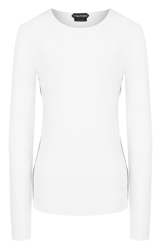 Купить Вязаный пуловер с круглым вырезом и контрастной отделкой Tom Ford, MAK802-YAX169, Италия, Белый, Вискоза: 83%; Полиэстер: 17%;