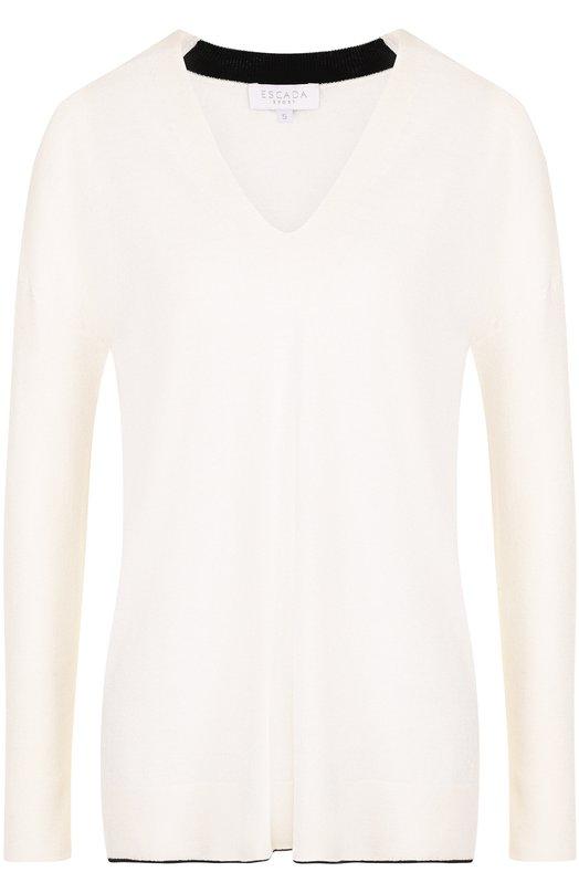 Купить Пуловер с V-образным вырезом и контрастной отделкой Escada Sport, 5026789, Китай, Белый, Кашемир: 5%; Полиамид: 35%; Шерсть: 30%; Вискоза: 30%;
