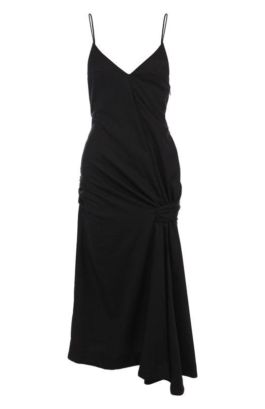 Купить Шерстяное платье-миди на тонких бретельках Jacquemus, 181DR13, Болгария, Черный, Шерсть: 100%; Подкладка-хлопок: 100%;
