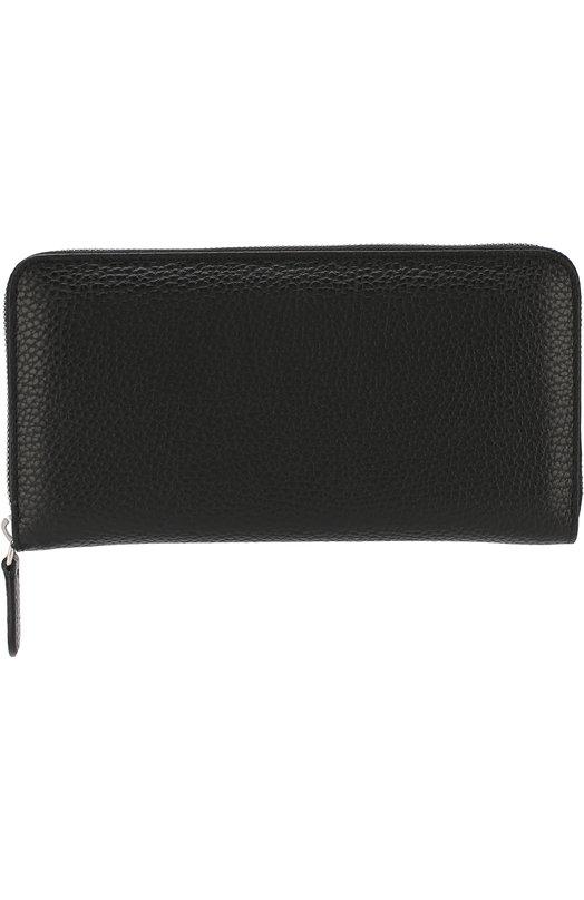 Купить Кожаное портмоне на молнии с отделениями для кредитных карт Canali, P312602/NA00051, Италия, Черный, Кожа: 100%;