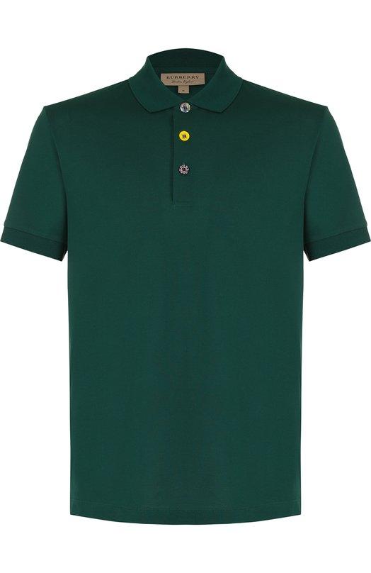Купить Хлопковое поло с короткими рукавами Burberry, 8001110, Таиланд, Зеленый, Хлопок: 100%;