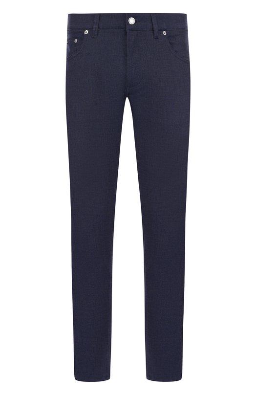 Купить Хлопковые брюки прямого кроя Dolce & Gabbana, GYC6LT/FUFIL, Италия, Синий, Хлопок: 98%; Эластан: 2%; Отделка кож./кайман/: 100%;
