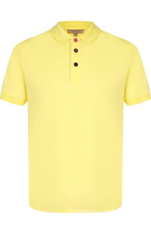 Купить Хлопковое поло с короткими рукавами Burberry, 8001111, Таиланд, Желтый, Хлопок: 100%;