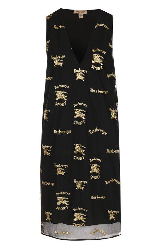 Купить Шелковое мини-платье с V-образным вырезом и принтом Burberry, 8002191, Италия, Черный, Шелк: 100%;