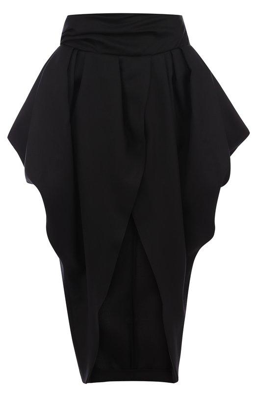 Купить Однотонная шерстяная юбка асимметричного кроя Jacquemus, 181SK03, Португалия, Черный, Шерсть: 100%;