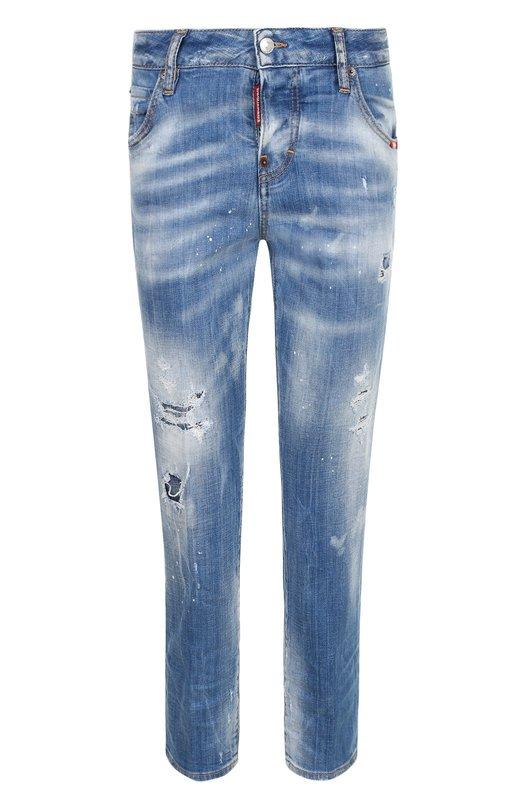 Купить Укороченные джинсы прямого кроя с потертостями Dsquared2, S75LB0033/S30342, Италия, Голубой, Хлопок: 98%; Эластан: 2%;