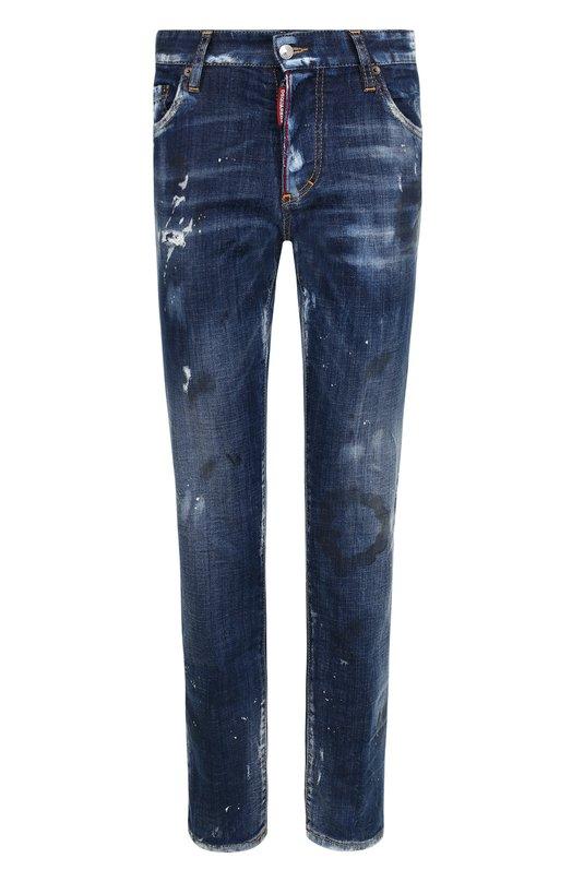 Купить Укороченные джинсы прямого кроя с потертостями Dsquared2, S75LB0051/S30342, Италия, Синий, Хлопок: 98%; Эластан: 2%;