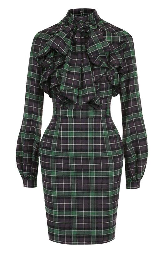 Купить Приталенное хлопковое мини-платье с воротником аскот Dsquared2, S75CU0845/S49231, Италия, Зеленый, Хлопок: 100%;