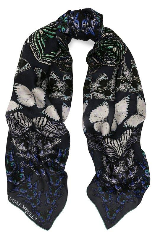 Купить Шелковый шарф с принтом Alexander McQueen, 531338/3011Q, Италия, Темно-синий, Шелк: 100%;