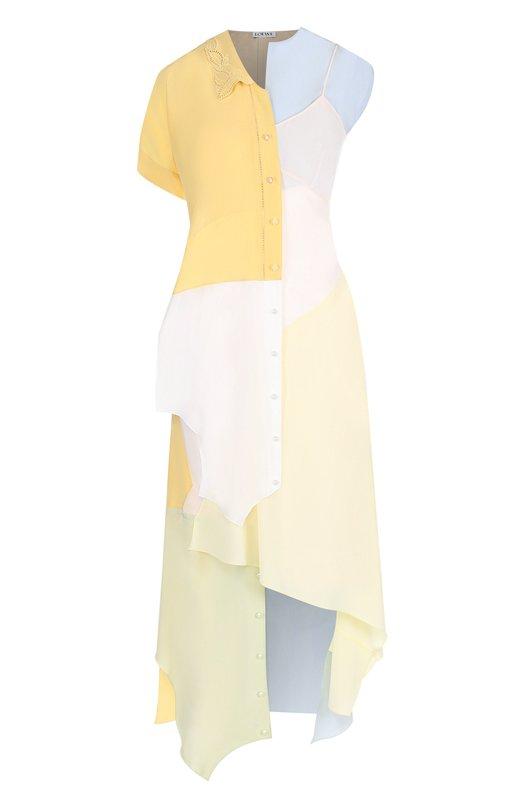 Купить Шелковое платье-миди асимметричного кроя Loewe, D2186360AP, Испания, Разноцветный, Шелк: 100%;