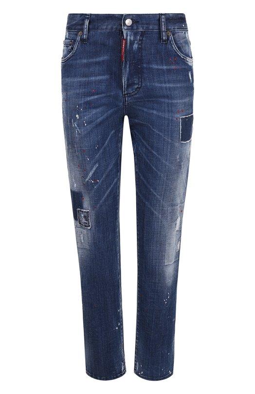 Купить Укороченные джинсы прямого кроя с потертостями Dsquared2, S75LB0039/S30342, Италия, Синий, Хлопок: 98%; Эластан: 2%;