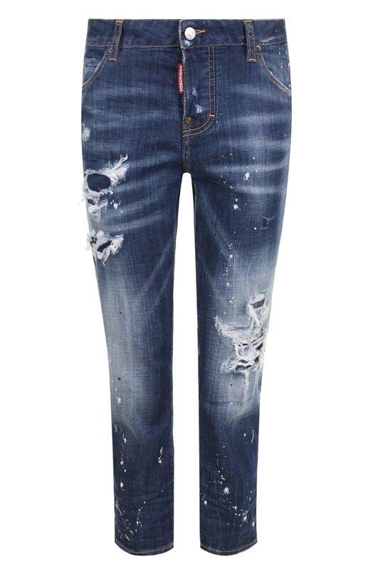 Купить Укороченные джинсы прямого кроя с потертостями Dsquared2, S75LB0036/S30342, Италия, Синий, Хлопок: 98%; Эластан: 2%;