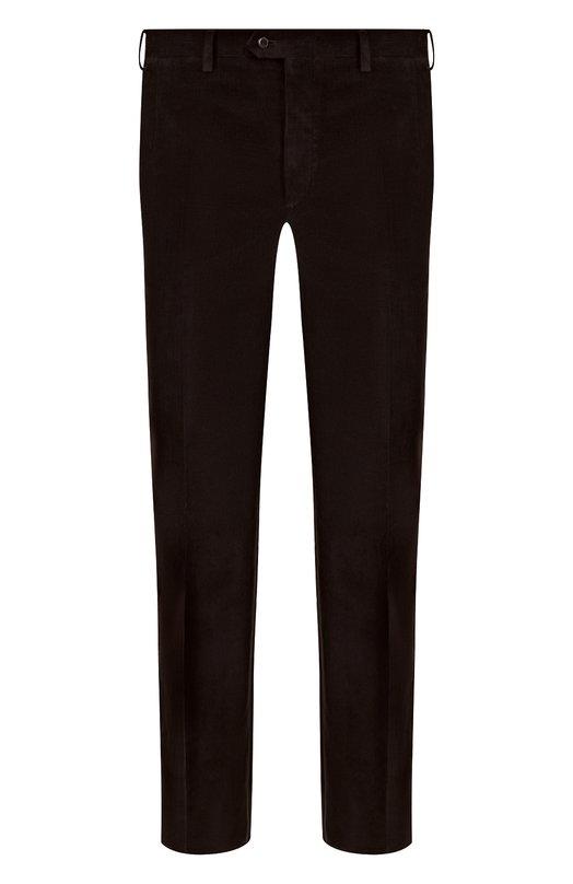 Купить Хлопковые брюки прямого кроя Brioni, RPL21J/P408Y/M0ENA, Италия, Темно-коричневый, Хлопок: 100%;