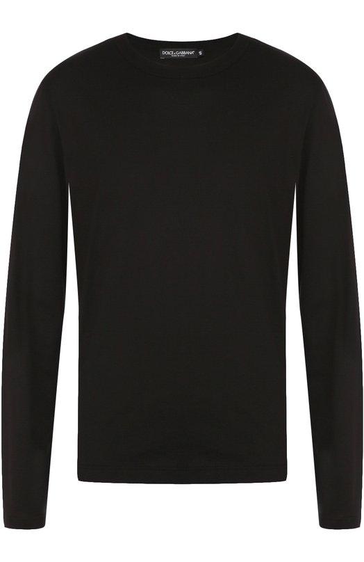 Купить Хлопковый лонгслив с круглым вырезом Dolce & Gabbana, 0101/G8GX6T/FU7EQ, Италия, Черный, Хлопок: 100%;