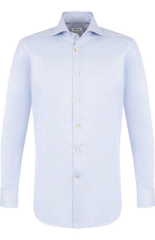Купить Хлопковая сорочка с воротником акула Kiton, UCIH0600606002, Италия, Голубой, Хлопок: 100%;