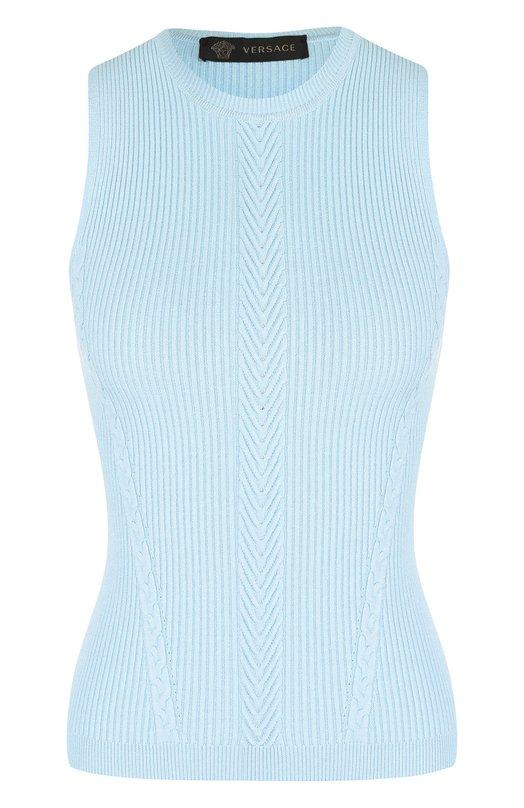 Купить Однотонный топ фактурной вязки без рукавов Versace, A80765/A227124, Италия, Голубой, Вискоза: 83%; Полиамид: 17%;