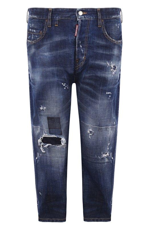 Купить Укороченные джинсы прямого кроя с потертостями Dsquared2, S75LB0053/S30342, Италия, Синий, Хлопок: 98%; Эластан: 2%;