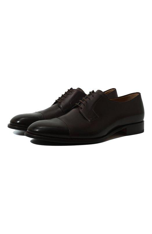 Купить Кожаные дерби на шнуровке Brioni, QEEQ0L/P6757, Италия, Темно-коричневый, Подошва-Резина: 49%; Кожа: 100%; Низ-Кожа: 100%; Подкладка-Кожа: 100%; Подошва-Кожа: 100%;