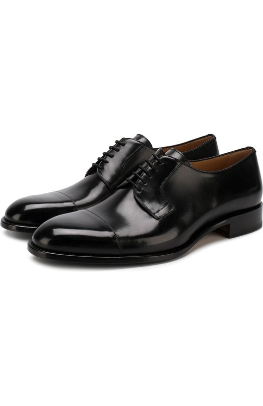 Купить Кожаные дерби на шнуровке Brioni, QEEQ0L/P6757, Италия, Черный, Подошва-Резина: 49%; Кожа: 100%; Низ-Кожа: 100%; Подкладка-Кожа: 100%; Подошва-Кожа: 100%;