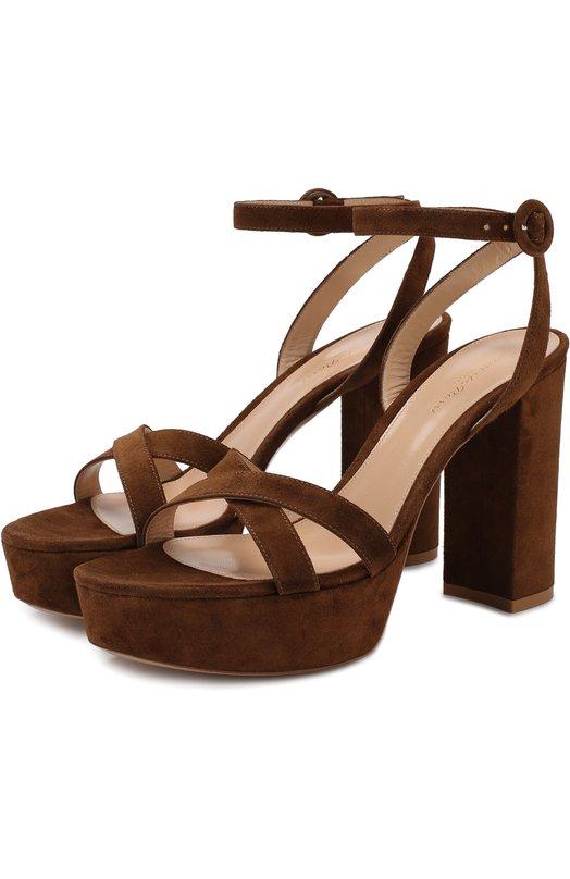 Купить Замшевые босоножки на устойчивом каблуке и платформе Gianvito Rossi, G31247.70RIC.CAMTEXA, Италия, Светло-коричневый, Подошва-кожа: 100%; Подкладка-кожа: 100%; Кожа: 100%;