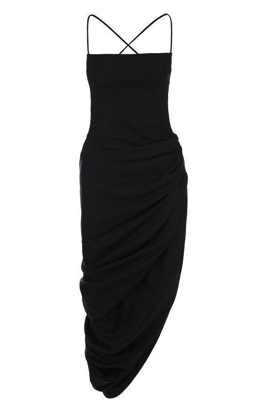 Купить Шерстяное платье-миди асимметричного кроя Jacquemus, 181DR01, Болгария, Черный, Шерсть: 100%; Подкладка-хлопок: 100%;