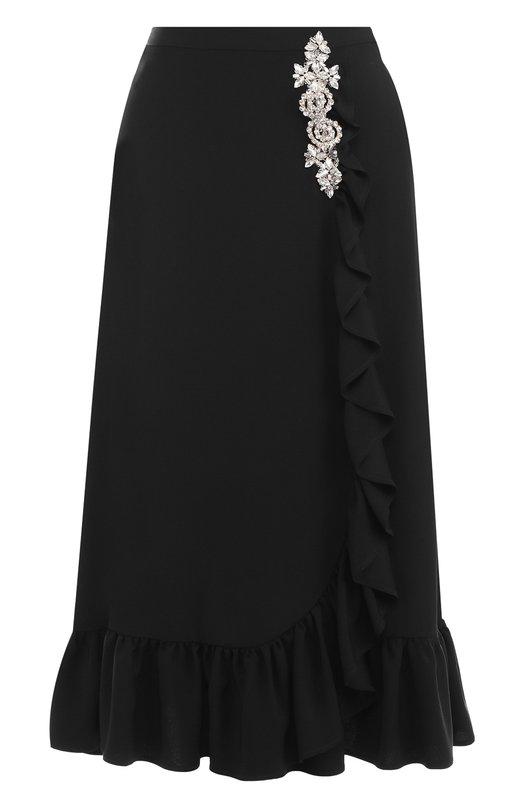 Купить Однотонная юбка-миди с оборкой и декоративной отделкой Christopher Kane, 505773/UBA04, Португалия, Черный, Ацетат: 60%; Вискоза: 40%; Отделка-металл: 100%;