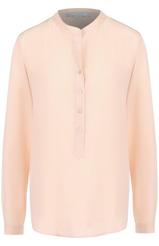Купить Однотонная шелковая блуза с воротником-стойкой Stella McCartney, 531885/SY206, Венгрия, Светло-розовый, Шелк: 100%;