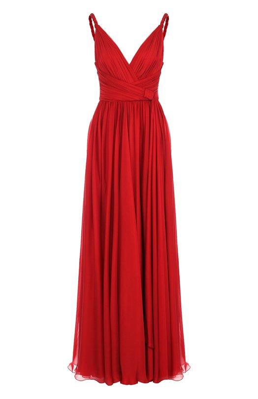 Купить Шелковое платье-макси с V-образным вырезом Zuhair Murad, DRS18028/CHSI001, Ливан, Красный, Шелк: 100%;