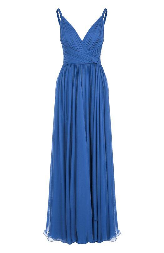 Купить Шелковое платье-макси с V-образным вырезом Zuhair Murad, DRS18028/CHSI001, Ливан, Синий, Шелк: 100%;