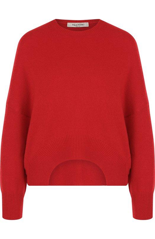 Купить Однотонный кашемировый пуловер с круглым вырезом Valentino, QB3KC11447K, Италия, Красный, Кашемир: 100%;