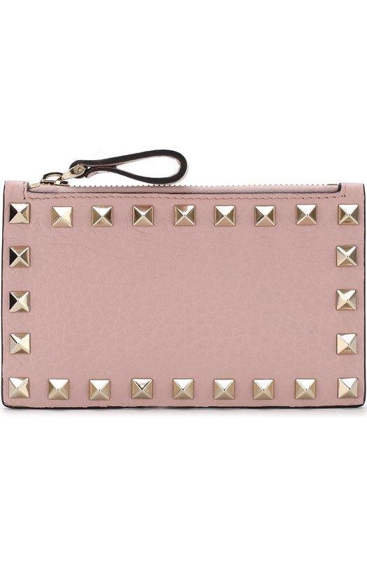 Купить Футляр для кредитных карт Valentino Garavani Rockstud Valentino, QW1P0548/VSH, Италия, Светло-розовый, Кожа: 100%;