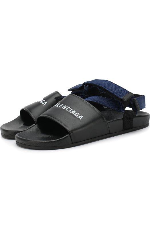 Купить Кожаные сандалии с логотипом бренда Balenciaga, 506348/WAWF5, Италия, Черный, Подошва-резина: 100%; Подкладка-кожа: 100%; Кожа: 100%;
