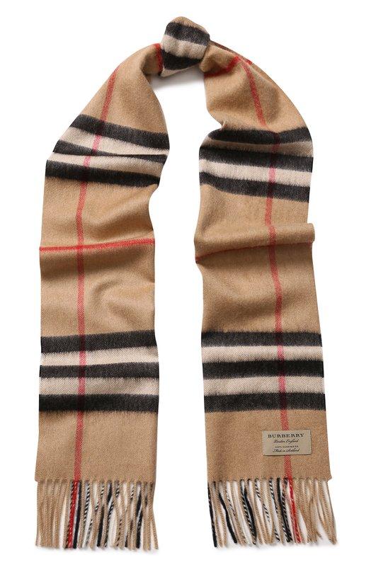 Купить Кашемировый шарф в клетку с бахромой Burberry, 3929522, Великобритания, Бежевый, Кашемир: 100%;