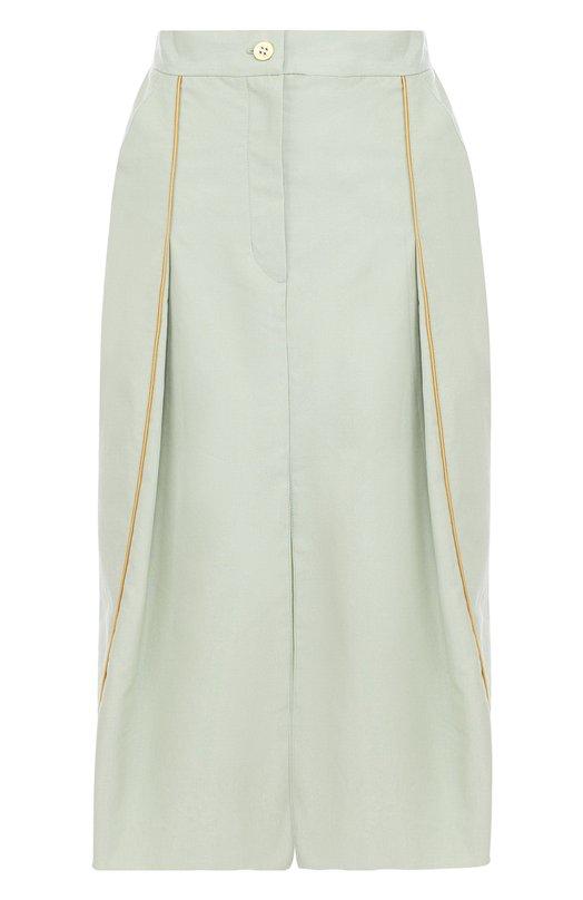 Купить Хлопковая юбка-миди с разрезом Walk of Shame, SK005/1-SS18, Россия, Зеленый, Хлопок: 100%;